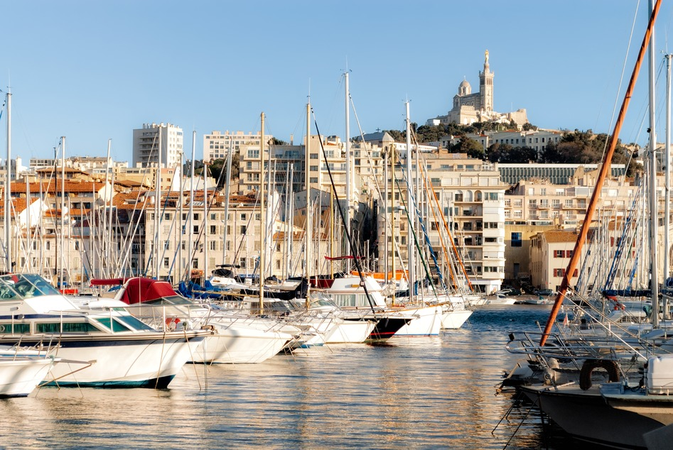 View of Marseille's Vieux Port and Notre Dame de la Garde church, France