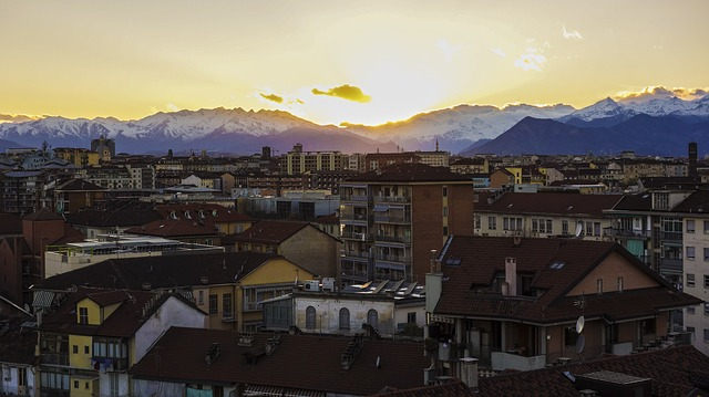 Sunset over Turin Italy